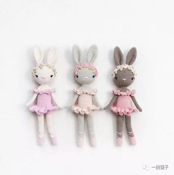 一线铺子原创:芭蕾玩偶兔编织图解教程